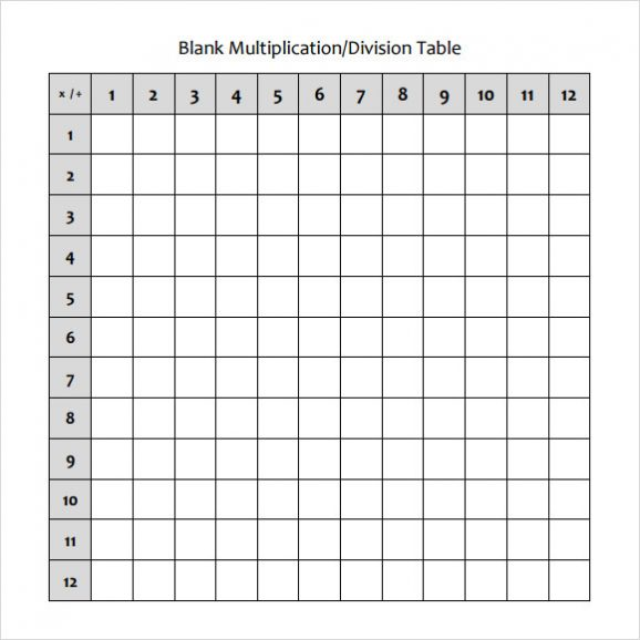 Blank Multiplication Table Printable