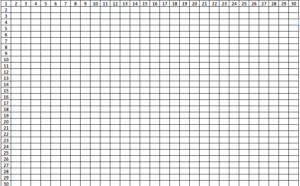 Blank Multiplication Tables From 1 to 30 Worksheet