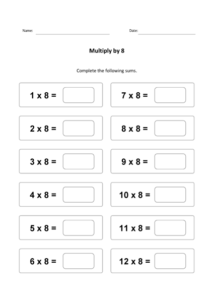 8 Times Table Sheet