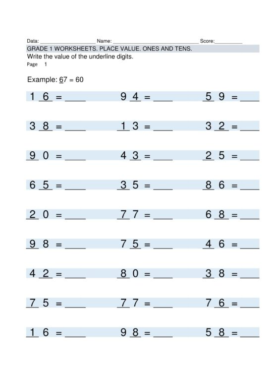- Free Blank Multiplication Worksheets For Grade 1 Template